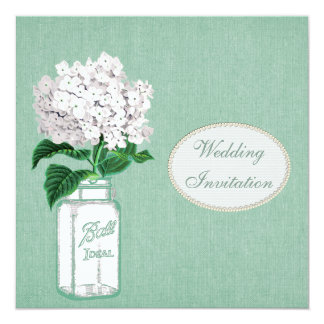 Mint Burlap, Mason Jar & Hydrangea Wedding Card