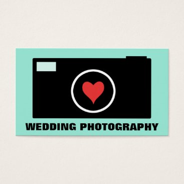 Professional Business Mint Camera Wedding Photography Business Card