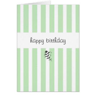 Mint Candy Stripes Birthday Card