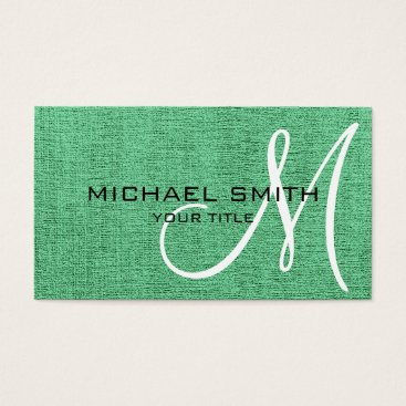 Professional Business Mint Canvas Look Monogram Business Card