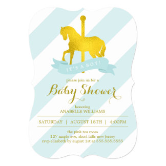 Mint Carousel Horse Baby Shower Card