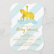 Mint Carousel Horse Baby Shower Invitation