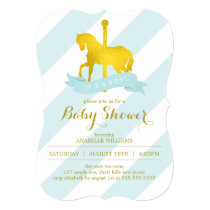 Mint Carousel Horse Baby Shower Invitation