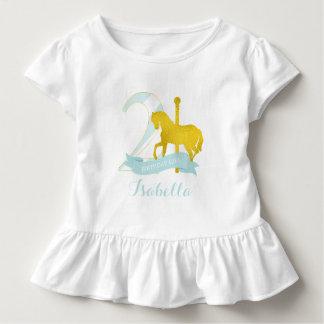 Mint Carousel Horse Birthday Girl Toddler T-shirt