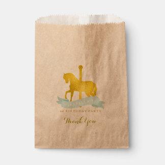 Mint Carousel Horse Birthday Party Favor Bag