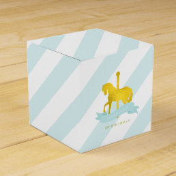 Mint Carousel Horse Birthday Party Favor Box