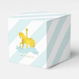Mint Carousel Horse Birthday Party Favor Box