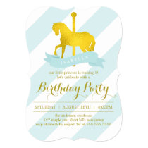 Mint Carousel Horse Birthday Party Invitation