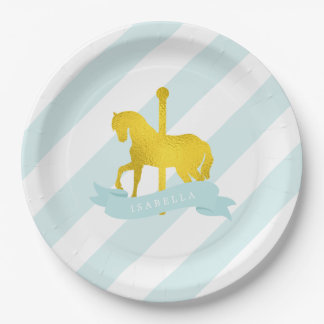 Mint Carousel Horse Birthday Party Paper Plate