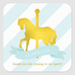 Mint Carousel Horse Birthday Square Sticker