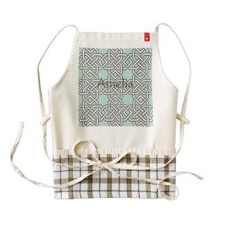 Mint,celtic,trellis,pattern,white,trendy,chic, Zazzle HEART Apron
