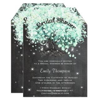 Mint Chalkboard Heart Leaf Tree Bridal Shower Card