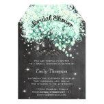 Mint Chalkboard Heart Leaf Tree Bridal Shower 5x7 Paper Invitation Card