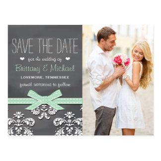Mint Chalkboard Lace Bow Save the Date Postcard