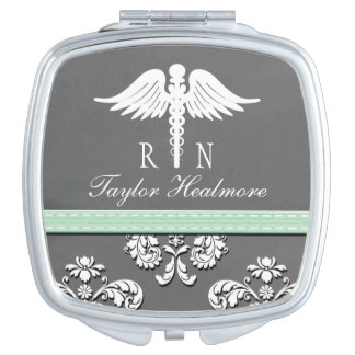 Mint Chalkboard Registered Nurse RN Caduceus Makeup Mirror