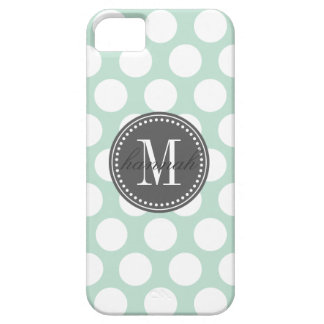 Mint & Charcoal | Big Polka Dots Monogrammed iPhone SE/5/5s Case