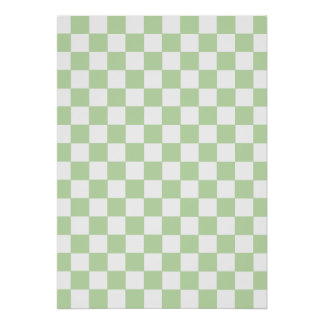 Mint Checkered Pattern Poster