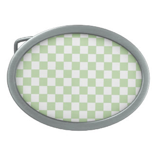 Mint Checkers Oval Belt Buckle
