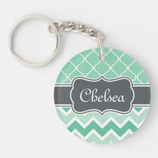 Mint Chevron and Lattice Pattern Grey Name Keychain