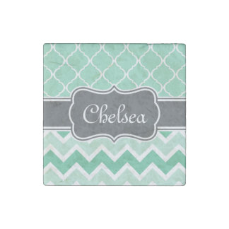 Mint Chevron and Lattice Pattern Grey Name Stone Magnet
