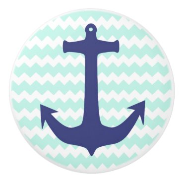Beach Themed Mint Chevron and Navy Blue Anchor Ceramic Knob