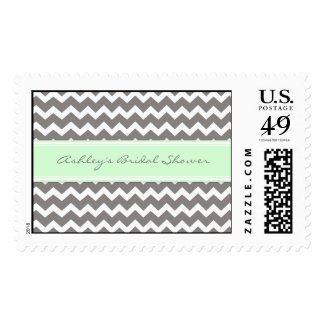 Mint Chevron Bridal Shower Wedding Stamps