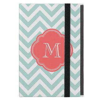 Mint Chevron Custom Monogram Cover For iPad Mini
