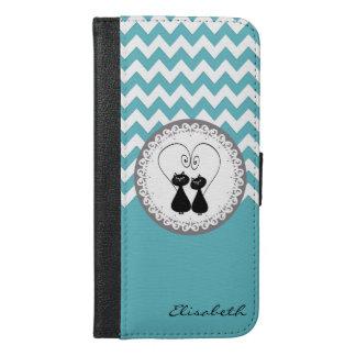 Mint chevron Cute trendy funny cat couple monogram iPhone 6/6s Plus Wallet Case