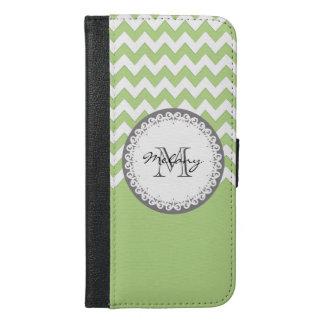 Mint chevron Cute trendy girly monogram iPhone 6/6s Plus Wallet Case