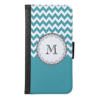 Mint chevron Cute trendy girly monogram Wallet Phone Case For Samsung Galaxy S6