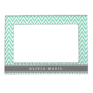 mint chevron grey name template magnetic photo frame - Mint Picture Frames
