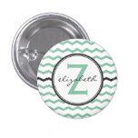 Mint Chevron Monogram 1 Inch Round Button