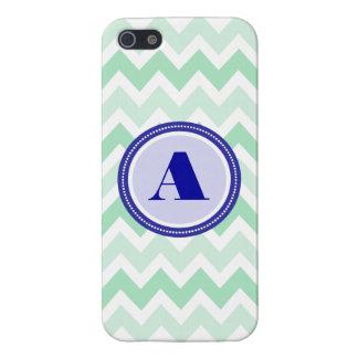 Mint Chevron Monogram Case For iPhone SE/5/5s