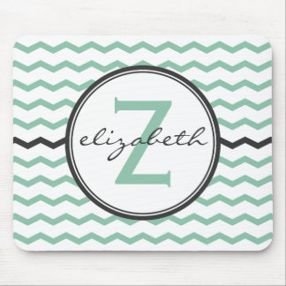 Mint Chevron Monogram Mouse Pad