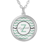 Mint Chevron Monogram Silver Plated Necklace
