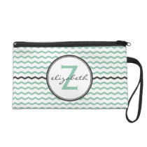 Mint Chevron Monogram Wristlet Purse