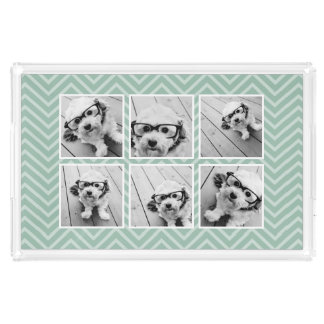 Mint Chevron Pattern with Trendy 6 Photo Collage Acrylic Tray