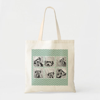 Mint Chevron Pattern with Trendy 6 Photo Collage Tote Bags