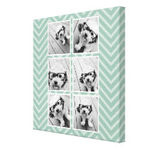 Mint Chevron Pattern with Trendy 6 Photo Collage Canvas Print