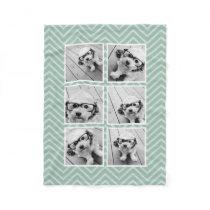 Mint Chevron Pattern with Trendy 6 Photo Collage Fleece Blanket