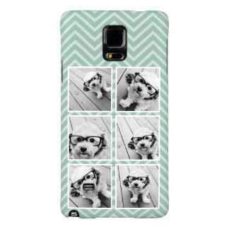 Mint Chevron Pattern with Trendy 6 Photo Collage Galaxy Note 4 Case