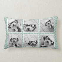 Mint Chevron Pattern with Trendy 6 Photo Collage Lumbar Pillow