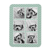 Mint Chevron Pattern with Trendy 6 Photo Collage Magnet