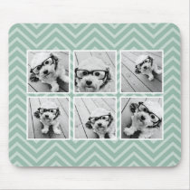 Mint Chevron Pattern with Trendy 6 Photo Collage Mouse Pad