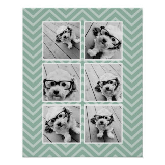 Mint Chevron Pattern with Trendy 6 Photo Collage Poster