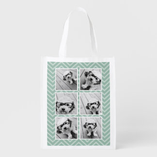 Mint Chevron Pattern with Trendy 6 Photo Collage Reusable Grocery Bags