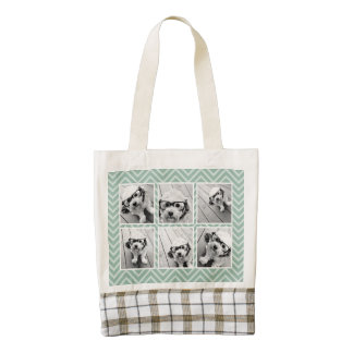 Mint Chevron Pattern with Trendy 6 Photo Collage Zazzle HEART Tote Bag