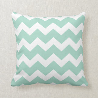 Mint Chevron Throw Pillow