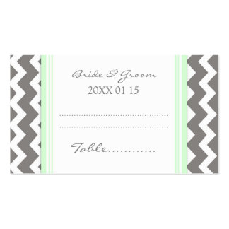 Mint Chevron Wedding Table Place Setting Cards Double-Sided Standard Business Cards (Pack Of 100)