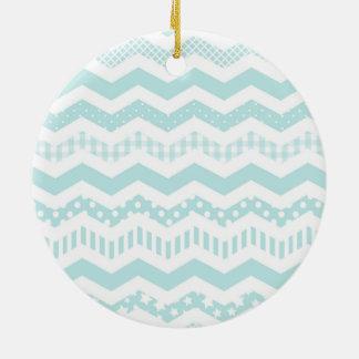 Mint Chevron with a twist Ceramic Ornament